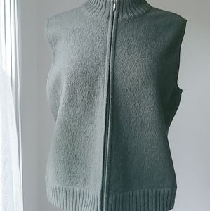 Talbots 100% wool zip vest top jacket